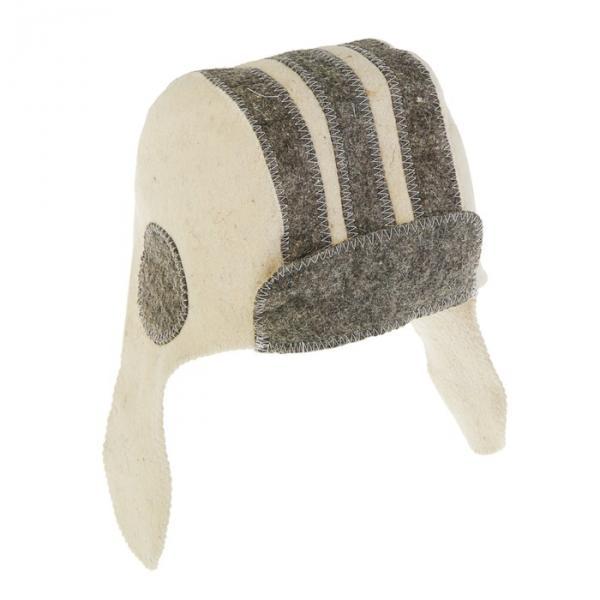 Банная шапка «Танкист», войлок, бело-серая
