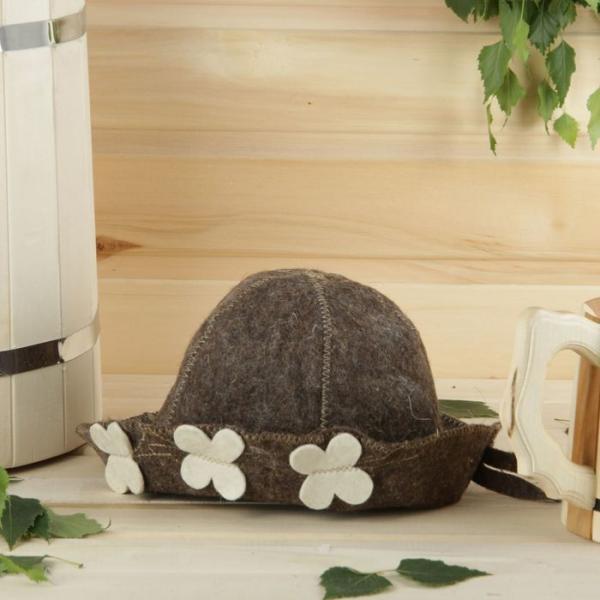 Банная шапка детская, коричневая, войлок