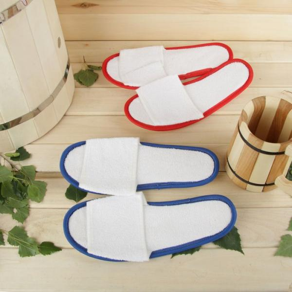 Тапочки для бани и сауны, махровые, белые, микс