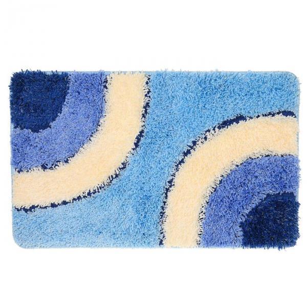 """Коврик для ванной """"Круги на воде"""" 45х75 см, синий"""