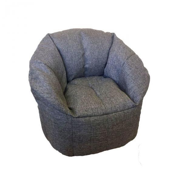 Бескаркасное кресло d90/h100, рогожка серая, наполнитель: вспененный полистирол
