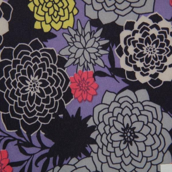 Ткань курточная ДЮСПО 240Т, цвет фиолетовый (принт пионы), 80 пог. м.