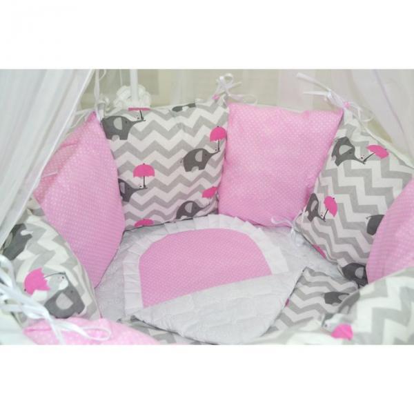 """Комплект 19 предметов для прямоугольной кроватки """"Слонёнок"""", цвет розовый"""