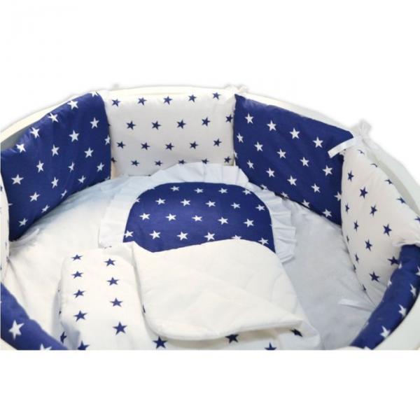 """Комплект 19 предметов для прямоугольной кроватки """"Северное сияние"""", цвет синий"""