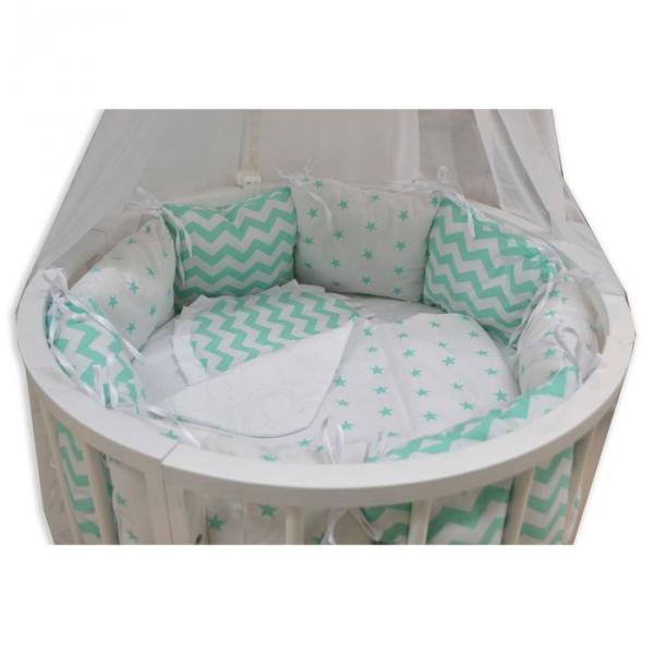 """Комплект 19 предметов для прямоугольной кроватки """"Звёздочка"""", цвет мята"""