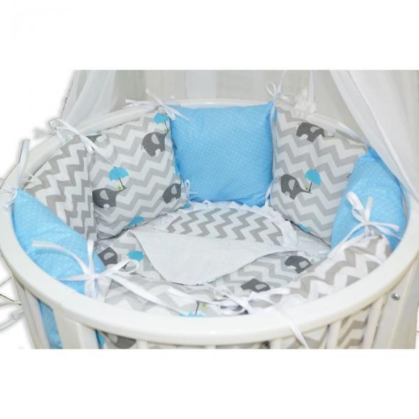 """Комплект 22 предмета для круглой кроватки """"Слонёнок"""", цвет голубой"""