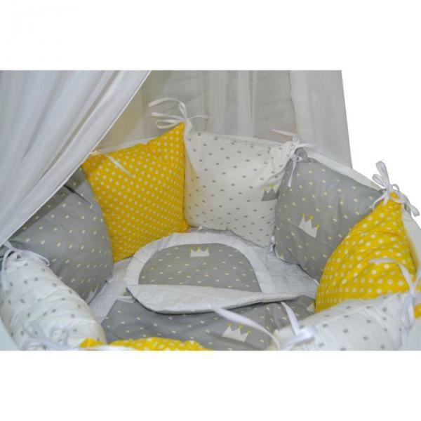 """Комплект 22 предмета для круглой кроватки """"Короны"""", цвет серый+жёлтый"""