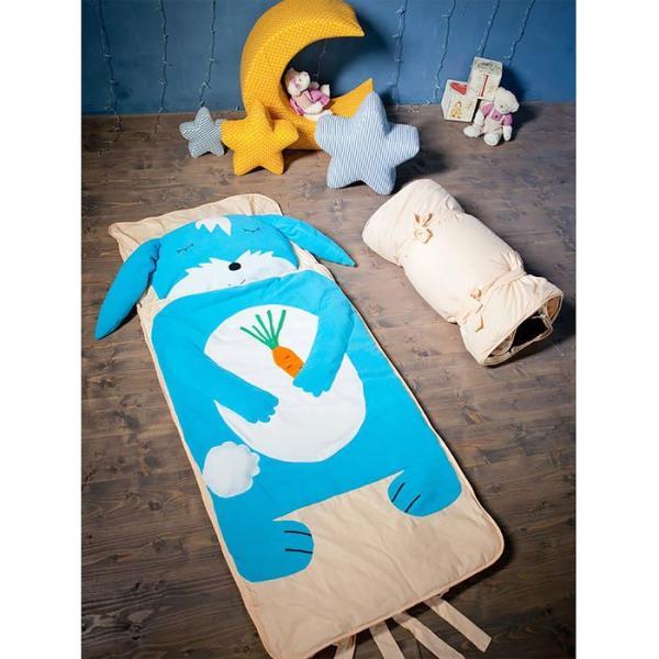"""Спальный мешок """"Зайка"""" на молнии, цвет голубой, размер 70х170 см (М), флис/синтепух/хлопок"""