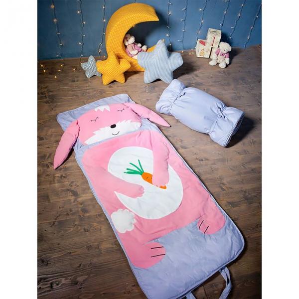 """Спальный мешок """"Зайка"""" на молнии, цвет розовый, размер 70х170 см (М), флис/синтепух/хлопок"""