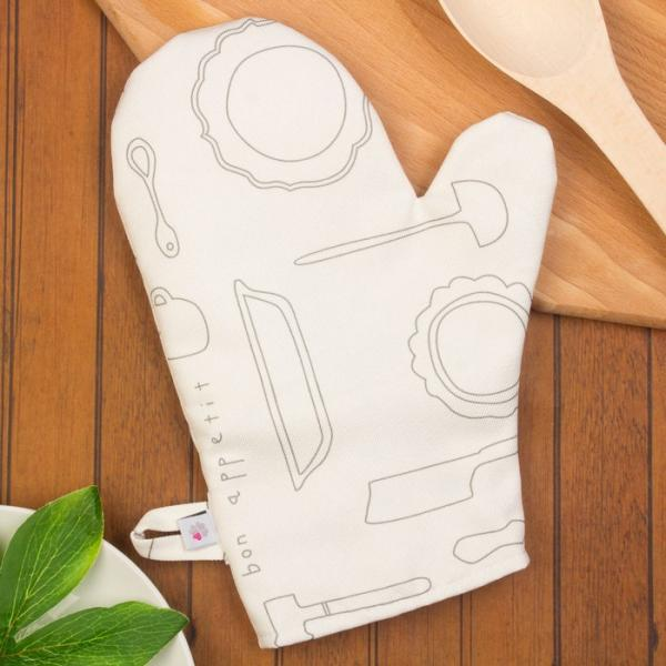 "Прихватка-рукавица, ""Кухня"", 19х19см, белый/серый, саржа/акриловое покрытие, 220г/м, пэ100%   279030"