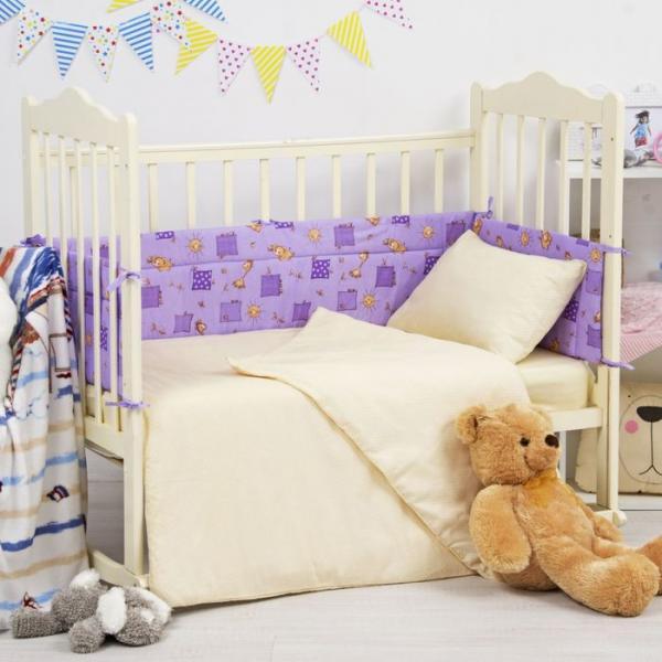 """Борт в кроватку """"Жирафики"""", размер 360*30 см, цвет сиреневый,  бязь 120 гр/м"""