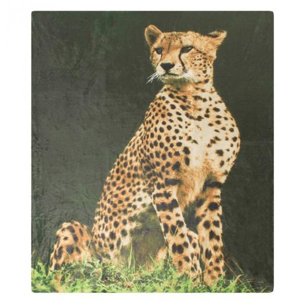 Плед ворсистый двусторонний 127х152 см Леопард, микрофибра 270 гр/м