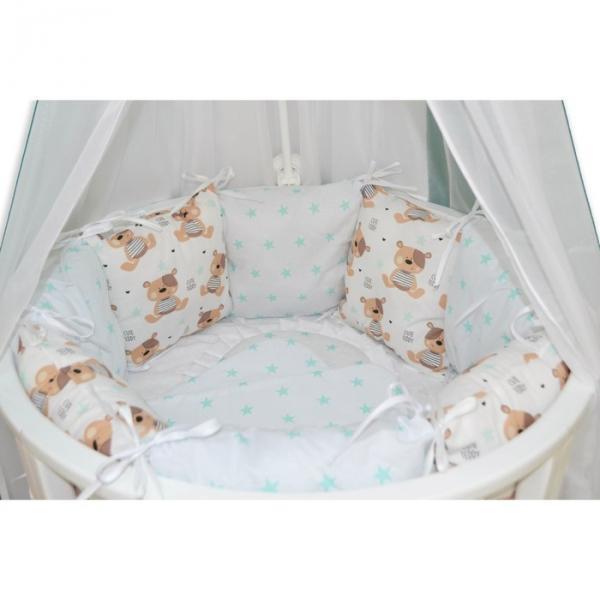 """Комплект 22 предметов для круглой кроватки """"Мишкины сны"""", белый"""