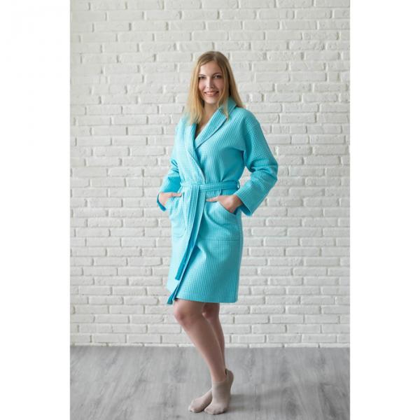 Халат вафельный женский шалька+кант, цвет бирюза, р-р 52, 242г/м, хл100%