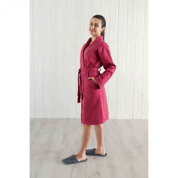 Халат вафельный женский шалька+кант, цвет бордовый, р-р 54, 242г/м, хл100%