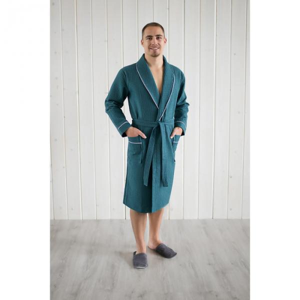 Халат вафельный мужской шалька+кант, цвет изумруд, р-р 56, 242г/м, хл100%