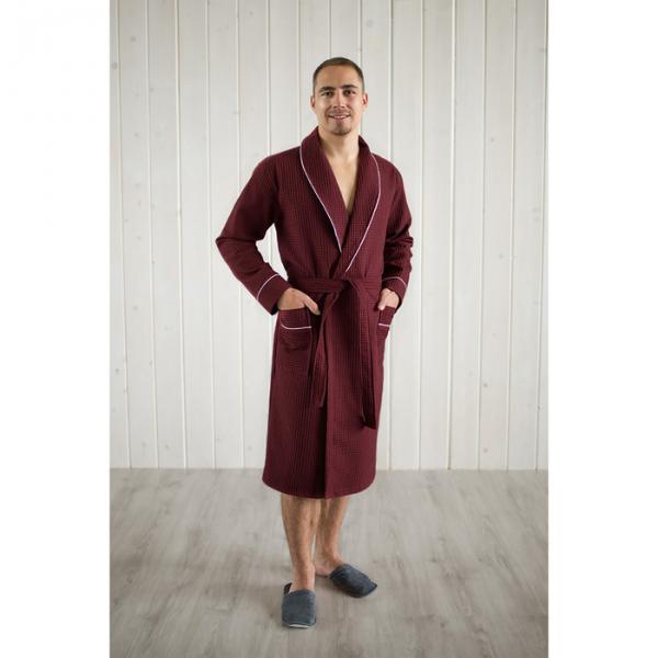 Халат вафельный мужской шалька+кант, цвет кирпич, р-р 54, 242г/м, хл100%