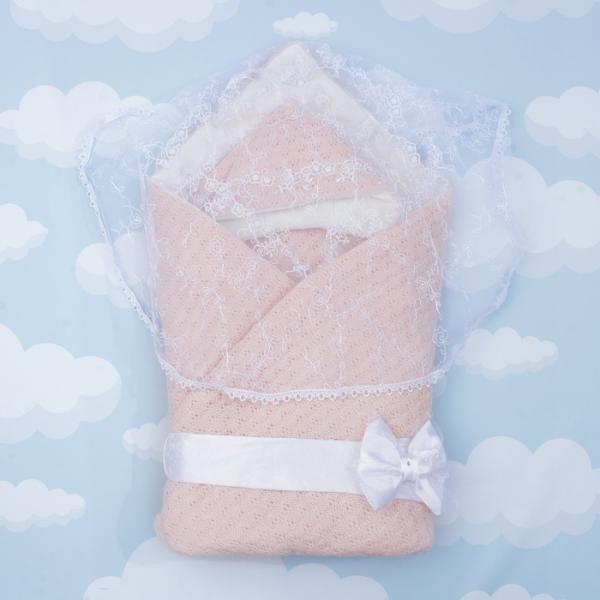 """Конверт-одеяло """"Жемчужинка"""" 90х90, цв розовый, акрил100, трик хл100, синтепон 200 1709/2"""