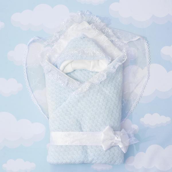 """Конверт-одеяло """"Жемчужинка"""" 90х90, цв голубой, акрил100, трик хл100, синтепон 200 1709/1"""