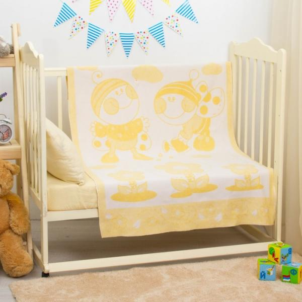 "Одеяло байковое ""Букашки"", размер 100х140 см, цвет жёлтый, хл100% 360 г/м D315411"