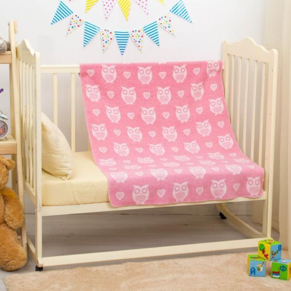 """Одеяло """"Совы и сердечки"""", размер 85х115 см, цвет розовый, хл50%пр50% 360 г/м DC135611"""