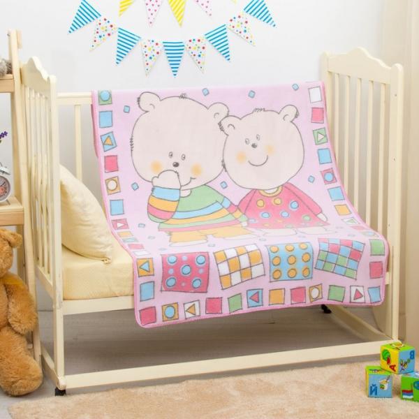 """Одеяло байковое """"Два медведя"""", размер 100х140 см, цвет розовый, хл100% 390 г/м D311511"""
