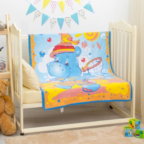 """Одеяло байковое """"Бегемот и попугай"""", размер 100х140 см, цвет голубой, хл100% 390 г/м D311511   27564"""