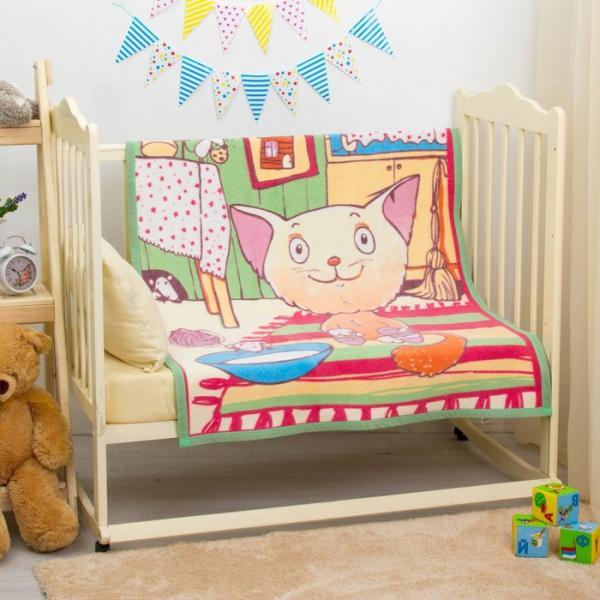 """Одеяло байковое """"Кот на кухне"""", размер 100х140 см, цвет салатовый, хл100% 390 г/м D311511"""
