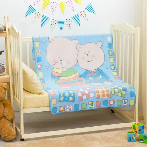 "Одеяло байковое ""Два медведя"", размер 100х140 см, цвет голубой, хл100% 390 г/м D311511"