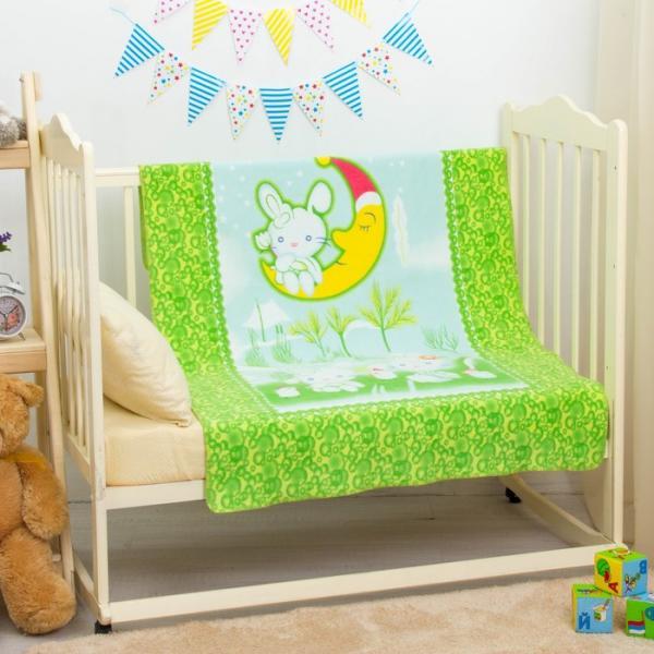 """Одеяло байковое """"Зайка на луне"""", размер 100х140 см, цвет зелёный, хл100% 390 г/м D311511"""