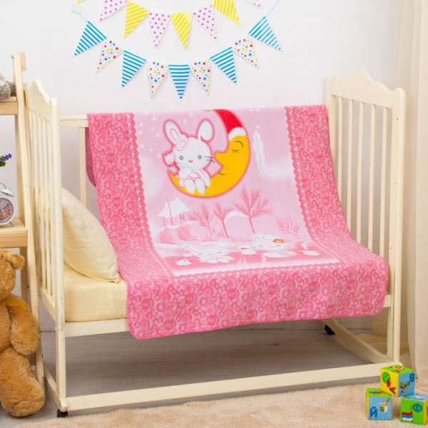 """Одеяло байковое """"Зайка на луне"""", размер 100х140 см, цвет розовый, хл100% 390 г/м D311511"""