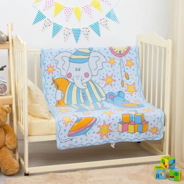 """Одеяло байковое """"Пора спать"""", размер 100х140 см, цвет голубой, хл100% 390 г/м D311511"""