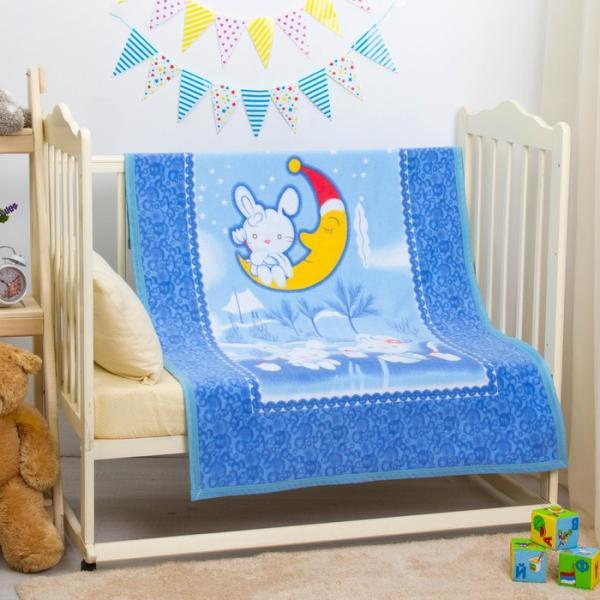 "Одеяло байковое ""Зайка на луне"", размер 100х140 см, цвет голубой, хл100% 390 г/м D311511"