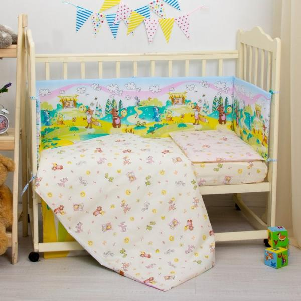 """Комплект в кроватку """"Колобок"""", 6 предметов, цвет жёлтый, хл100% 125 г/м H713-2"""