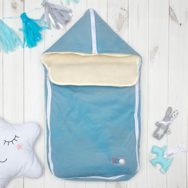 Конверт с меховой вставкой, цвет голубой, вельвет K131015