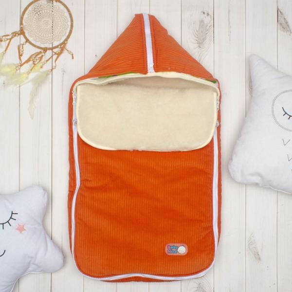 Конверт с меховой вставкой, цвет оранжевый, вельвет K131015