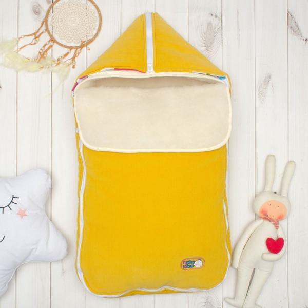 Конверт с меховой вставкой, цвет жёлтый, вельвет K131015