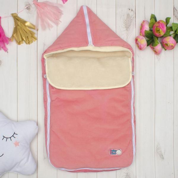 Конверт с меховой вставкой, цвет розовый, вельвет K131015