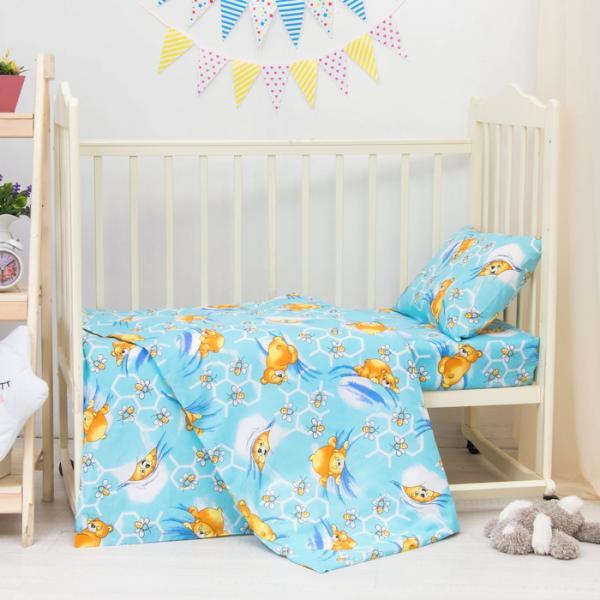 КПБ детский Сладкий сон 112х147 см, 95х147 см, 42х62 см, бязь цв голубой