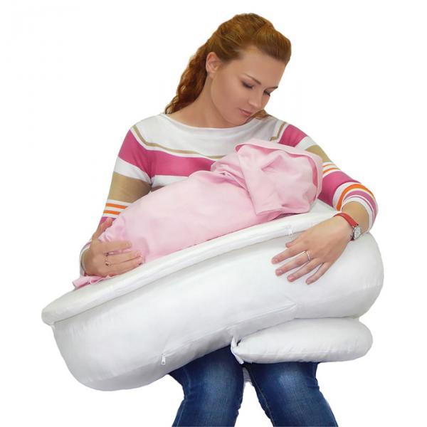Подушка для кормления МАМИНА РАДОСТЬ 3 в 1 66x26x17см, лебяжий пух, бязь
