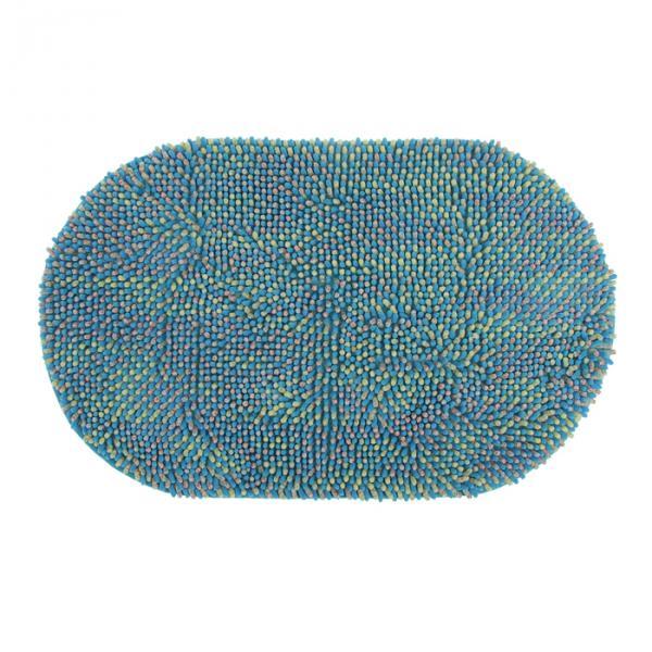 """Коврик для ванной """"Букли"""" 50х80 см, овальный, цвет синий"""