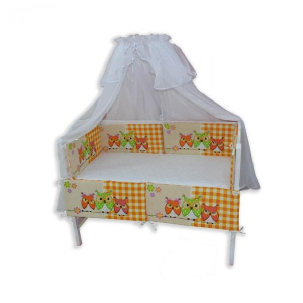 """Бортики в прямоугольную кроватку """"Совятки"""", размер 30х60 см-6 шт. цвет оранжевый"""