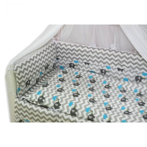 """Комплект в прямоугольную кроватку """"Слонёнок"""", 7 предметов"""