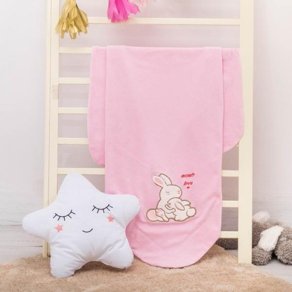 """Плед-покрывало """"Мамина любовь"""" зайчики, размер 85х90 см, розовый, велюр/трикотаж 230 гм"""