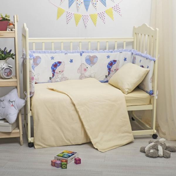 Бампер в кроватку с рюшами Мишка в колпаке, 35х360 см, цв гол бязь/поплин, синтепон 400гр