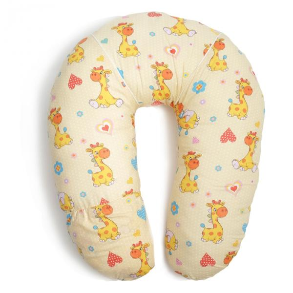 Подушка для кормления с карманом, жирафики беж