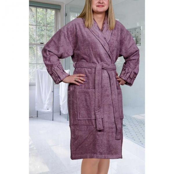 """Махровый халат """"ELIZA"""", размер M, цвет тёмно-фиолетовый"""