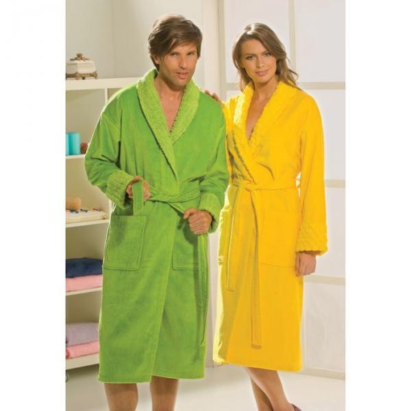 "Махровый халат ""ANGORA"", размер S, жёлтый"