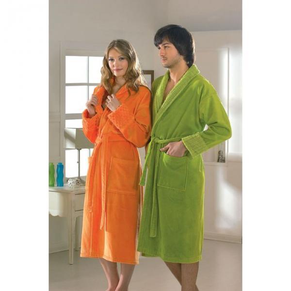 "Махровый халат ""ANGORA"", размер L, цвет зелёный"