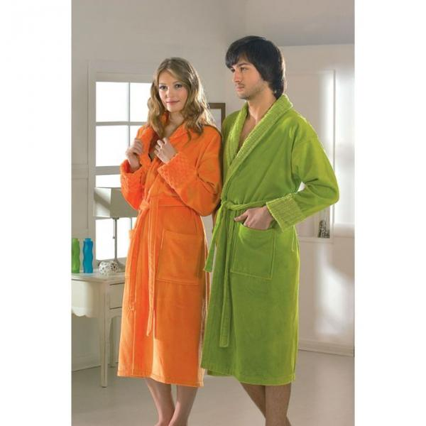 "Махровый халат ""ANGORA"", размер XL, цвет зелёный"